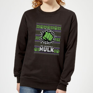 Marvel Hulk Punch Women's Christmas Sweatshirt - Black