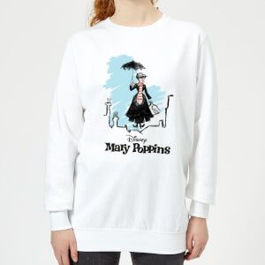 Mary Poppins Rooftop Landing Women's Christmas Sweatshirt - White