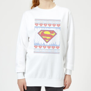 DC Supergirl Knit Women's Christmas Sweatshirt - White