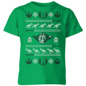 Star Wars Yoda Sabre Knit Kids' Christmas T-Shirt - Kelly Green