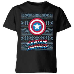 Marvel Captain America Kids' Christmas T-Shirt - Black