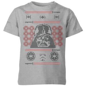 Star Wars Darth Vader Face Knit Kids' Christmas T-Shirt - Grey