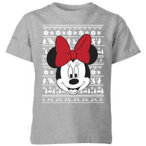 Disney Minnie Face Kids' Christmas T-Shirt - Grey