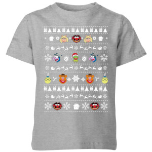 Muppets Pattern Kids' Christmas T-Shirt - Grey