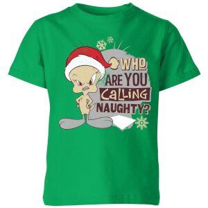 Looney Tunes Who Are You Calling Naughty Kinder Christmas T-Shirt - Grün
