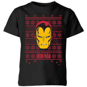 T-Shirt Marvel Iron Man Face Christmas - Nero - Bambini