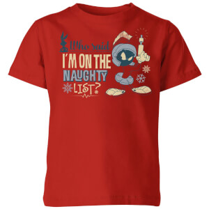 Looney Tunes Martian Who Said Im On The Naughty List Kinder Christmas T-Shirt - Rot