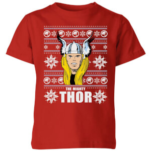 Marvel Thor Face Kids' Christmas T-Shirt - Red