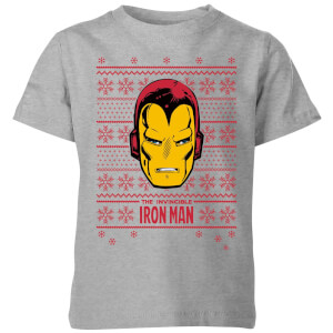 Marvel Iron Man Face Kids' Christmas T-Shirt - Grey
