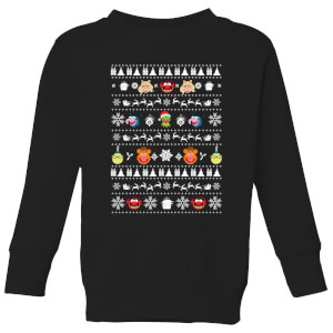 Muppets Pattern Kids' Christmas Sweater - Black