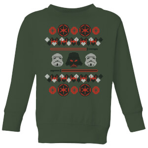 Star Wars Empire Knit Kids' Christmas Sweatshirt - Forest Green