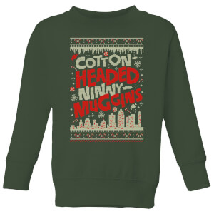 Elf Cotton-Headed-Ninny-Muggins Knit Kids' Christmas Sweatshirt - Forest Green