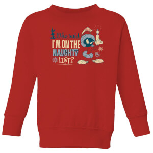 Looney Tunes Martian Who Said Im On The Naughty List Kids' Christmas Sweatshirt - Red