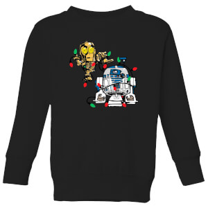 Star Wars Tangled Fairy Lights Droids Kids' Christmas Sweatshirt - Black