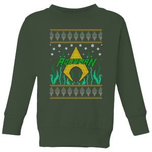 DC Aquaman Knit Kids' Christmas Sweatshirt - Forest Green