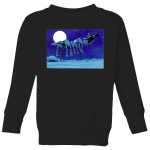 Star Wars AT-AT Darth Vader Sleigh Kids' Christmas Sweatshirt - Black