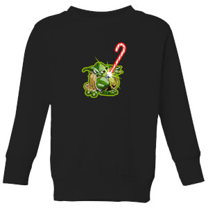 Star Wars Candy Cane Yoda Kids' Christmas Sweatshirt - Black