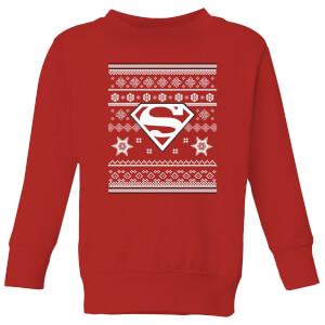 DC Superman Kinder Weihnachtspullover - Rot