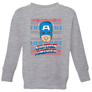 Marvel Captain America Face Kids' Christmas Sweatshirt - Grey