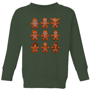 8e2c7e275007b6 Star Wars Gingerbread Characters Kids' Christmas Sweatshirt - Forest Green