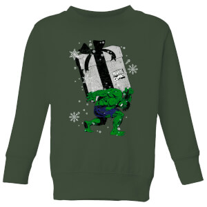 Marvel The Incredible Hulk Christmas Present Kids' Christmas Sweatshirt - Forest Green