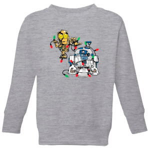 Star Wars Tangled Fairy Lights Droids Kids' Christmas Sweatshirt - Grey