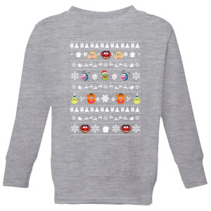 Muppets Pattern Kids' Christmas Sweatshirt - Grey
