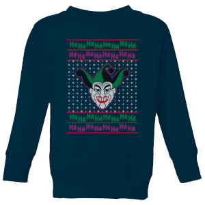 DC Joker Knit Kids' Christmas Sweatshirt - Navy from I Want One Of Those