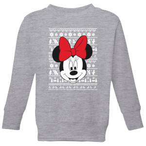 Disney Minnie Face Kids' Christmas Sweater - Grey