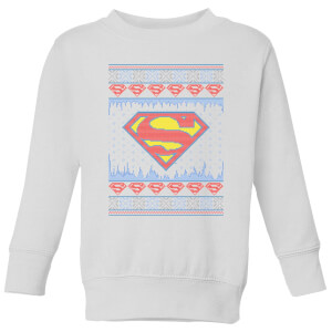 DC Supergirl Knit Kids' Christmas Sweatshirt - White