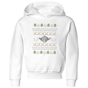Star Wars Yoda Knit Kids' Christmas Hoodie - White