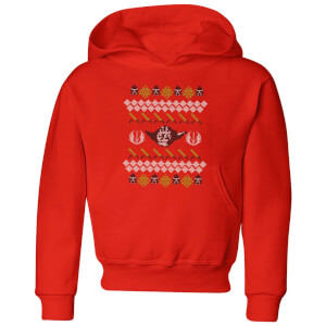 Star Wars Yoda Knit Kids' Christmas Hoodie - Red