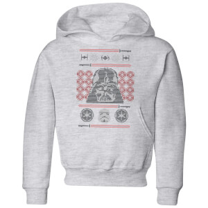 Star Wars Darth Vader Face Knit Kids' Christmas Hoodie - Grey
