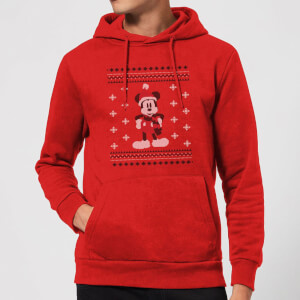 Disney Mickey Scarf Christmas Hoodie - Red