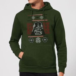 Felpa con cappuccio Star Wars Darth Vader Face Knit Christmas - Forest Green