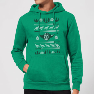 Star Wars Yoda Sabre Knit Christmas Hoodie - Kelly Green