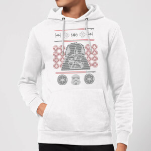 Star Wars Darth Vader Face Knit Christmas Hoodie - White