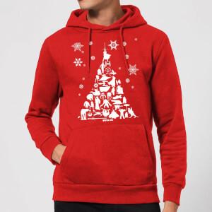 Felpa con cappuccio Star Wars Character Christmas Tree Christmas- Rosso