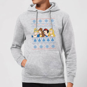 Disney Princess Faces Christmas Hoodie - Grey