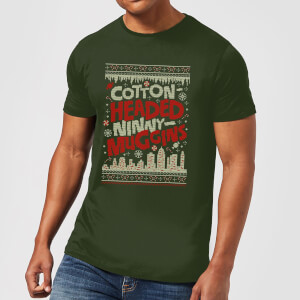 T-Shirt Elf Cotton-Headed-Ninny-Muggins Knit Christmas - Forest Green - Uomo