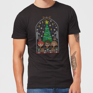 Harry Potter Hogwarts Tree Men's Christmas T-Shirt - Black