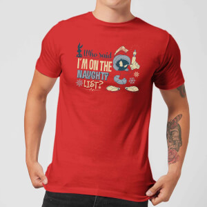 Looney Tunes Martian Who Said Im On The Naughty List Men's Christmas T-Shirt - Red