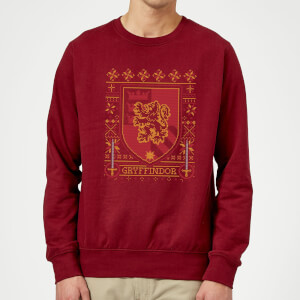 Harry Potter Gryffindor Crest Christmas Sweatshirt - Burgundy