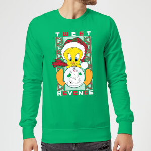 Looney Tunes Tweety Pie Tweet Revenge Christmas Sweatshirt - Kelly Green