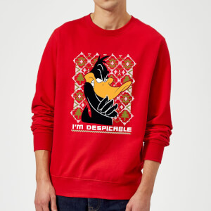 Felpa Natalizia Looney Tunes Daffy Duck Knit - Rosso