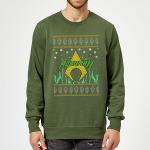 DC Aquaman Knit Christmas Sweatshirt - Forest Green