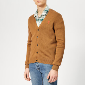 AMI Men's Embroidery Cardigan - Cognac