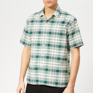 AMI Men's Camp Collar Pocket Check Shirt - Green/Off White