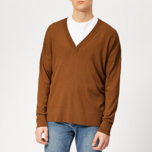 AMI Men's V Neck Sweater - Cognac