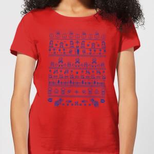 Nintendo Super Mario Retro Knit Women's Christmas T-Shirt - Red